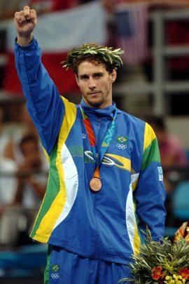 17/08/2004-ATENAS/GRECIA/JUDO - Claudio Canto, ganha medalha de bronze em Atenas ©Washington Alves/COB/Divulgacao